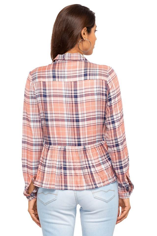 Womens Collared Check Peplum Top
