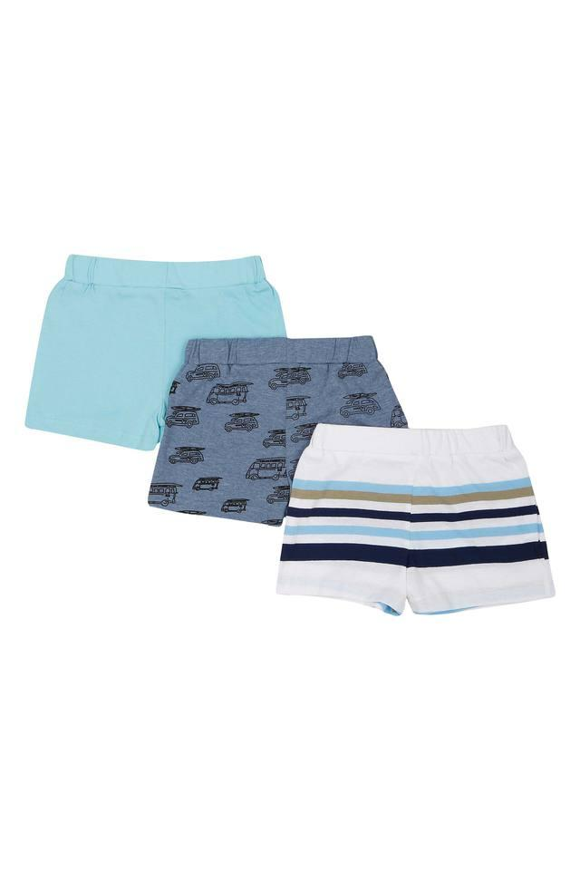 Boys Printed Striped and Solid Shorts - Pack of 3