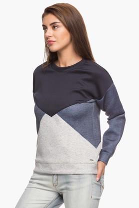 Womens Round Neck Colour Block Sweatshirt