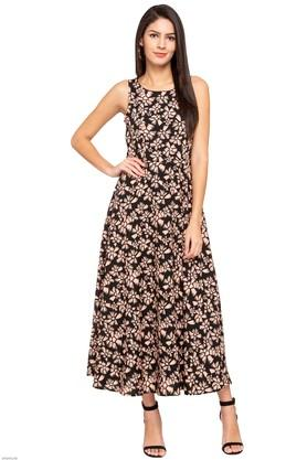 Womens Round Neck Floral Print Calf Length Dress