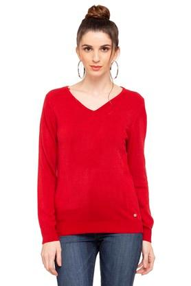 U.S. POLO ASSN.Womens V-Neck Solid Sweater