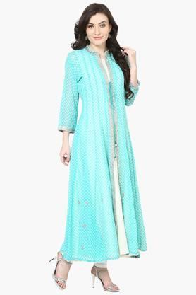 BIBA Womens Poly Cotton Kalidar Suit Set