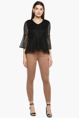 Womens V-Neck Lace Top
