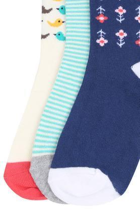 Girls Stripe and Printed Socks Pack of 3