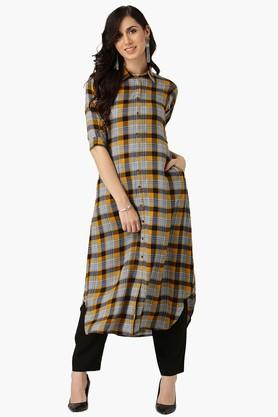 LIBAS Womens Collared Checks Shirt Style Kurta With Both Side Pocket