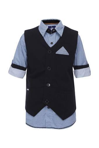 Boys Collared Printed Shirt with Waistcoat