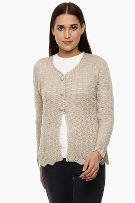 APSLEY Womens V Neck Slub Knitted Cardigan