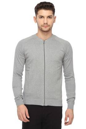 JACK AND JONES Mens Mao Collar Slub Jacket