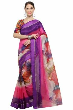 RACHNA Womens Art Silk Digital Printed Saree With Blouse - 204088361_7086