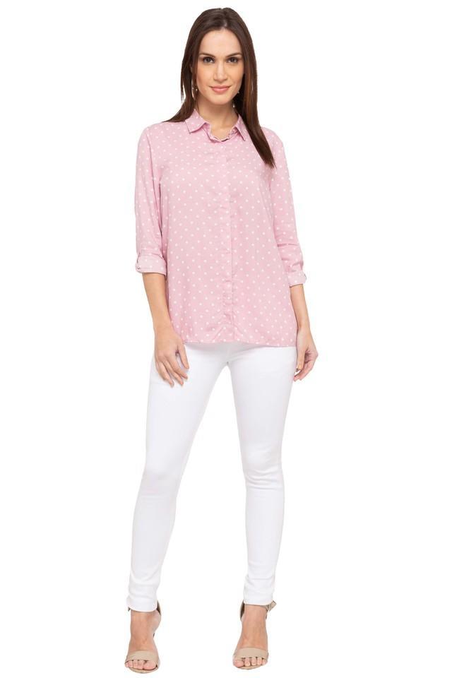 Womens Dot Pattern Casual Shirt