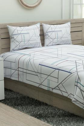 Geometric Printed Double Bed Sheet with 2 Pillow Covers