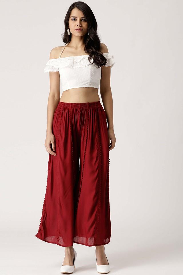 Womens Solid Flared Palazzos