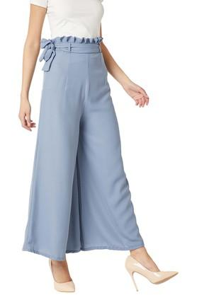 Womens Relaxed Fit Solid Pleated Wide Leg Flare Trouser