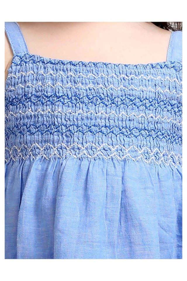 Girls Square Neck Embroidered Dress