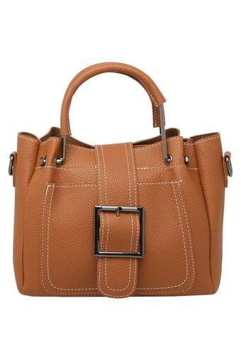 Womens Zip Closure Satchel Handbag with Sling Bag