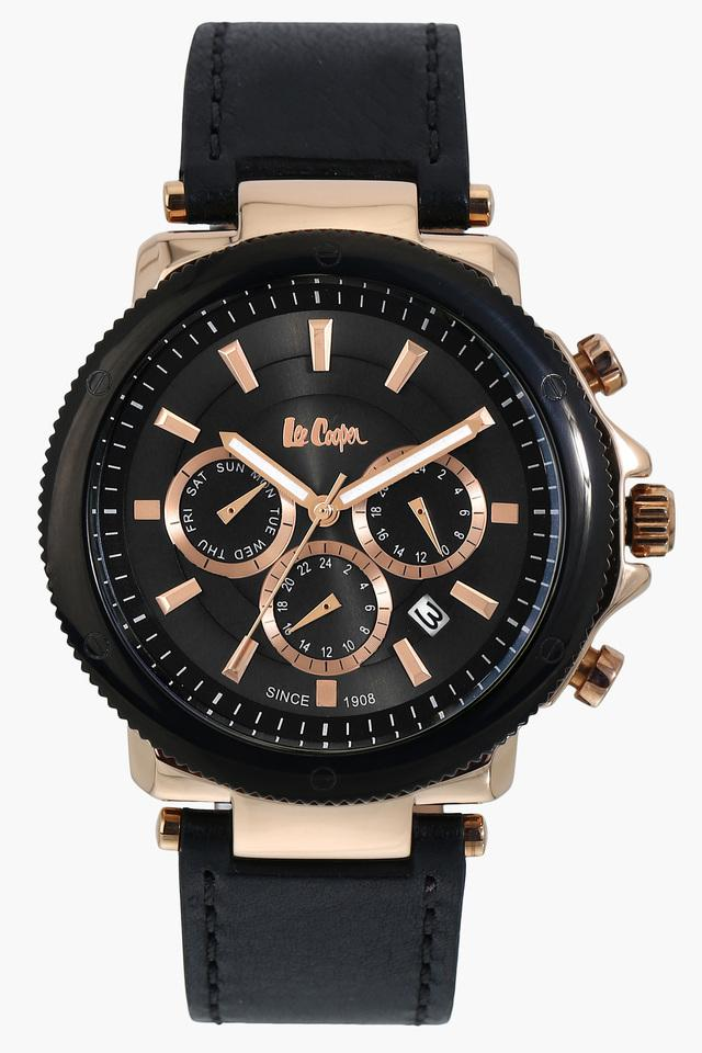 Mens Leather Multifunction Watch - NLC06182851
