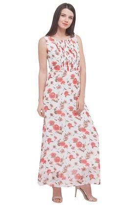 Womens Semi-Square Neck Printed Maxi Dress