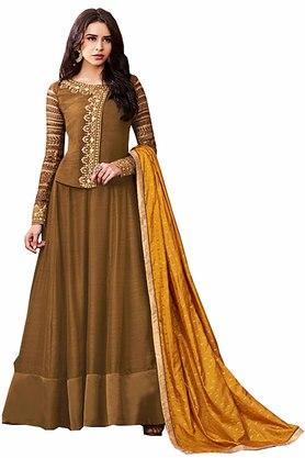 DEMARCAWomens Satin Designer Unstitched Dress Material