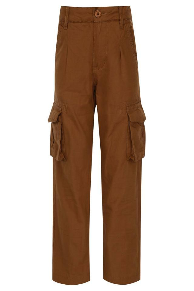 Boys 6 Pocket Solid Cargo Pants