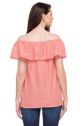 Womens Off Shoulder Stripe Embroidered Top