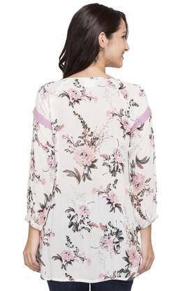 Womens Tie Up Neck Floral Print Kurti