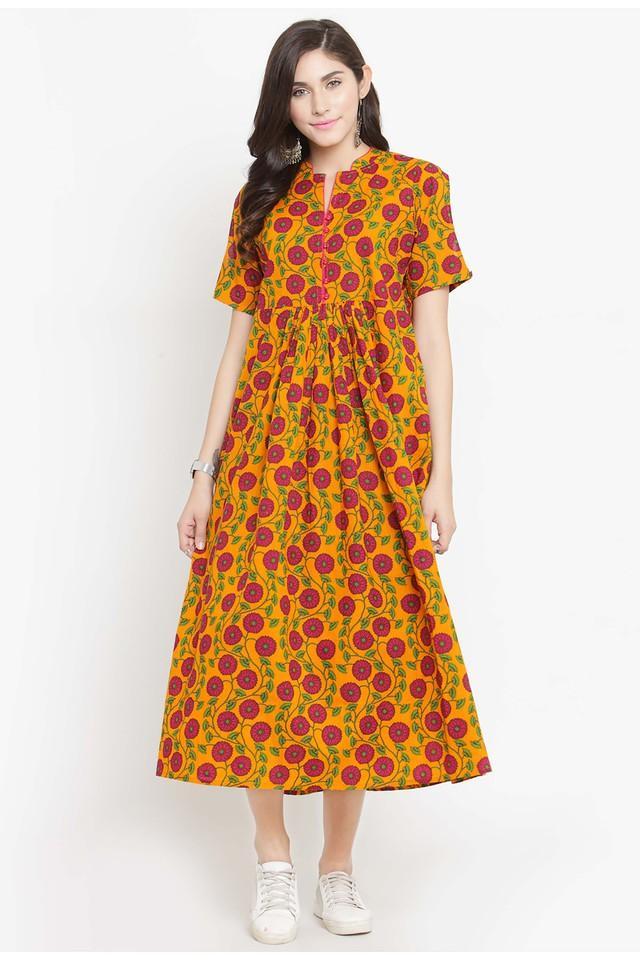 Women Cotton Floral Print EmpireWaist dress