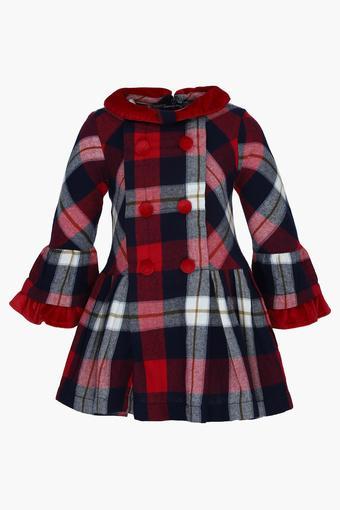 47762dc97e0c Buy NAUTI NATI Girls Collared Check Trench coat Flared Dress ...