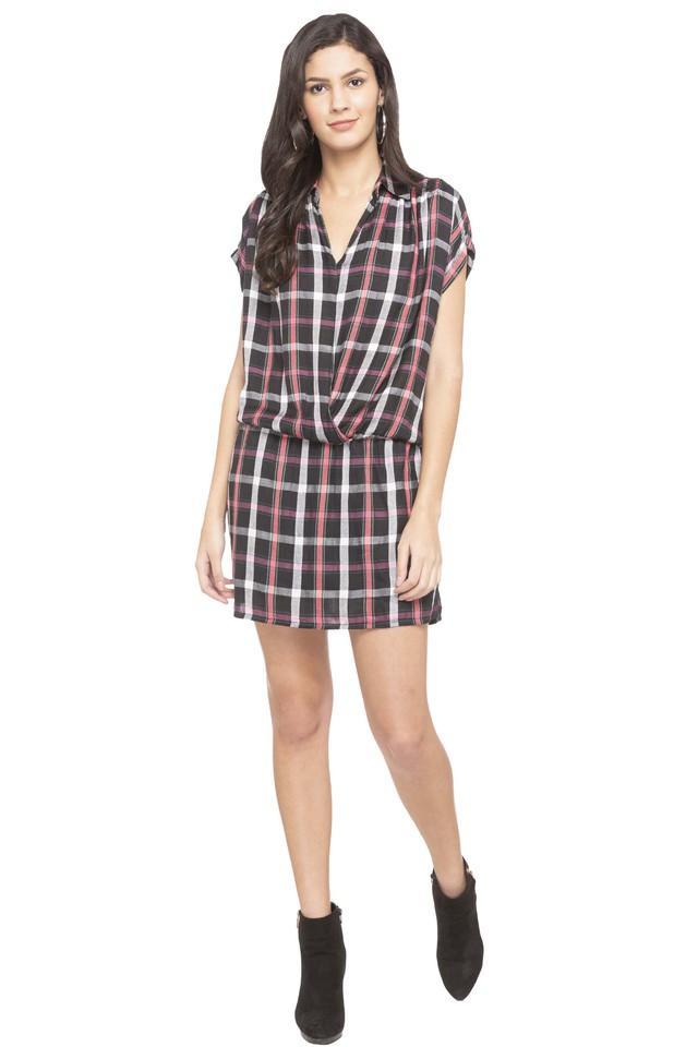 Womens Collared Check Mini Dress