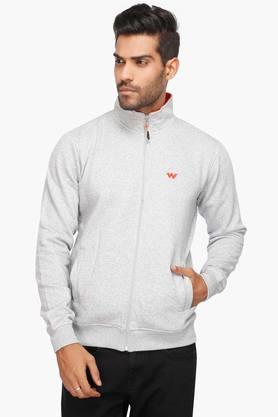 WILDCRAFTMens Zip Through Neck Slub Sweatshirt