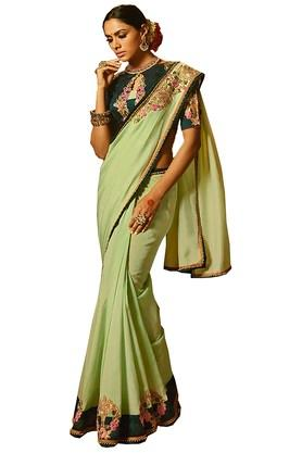 Womens Solid Embroidered Saree with Blouse Piece