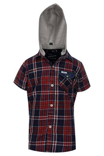 Boys Hooded Check Shirt