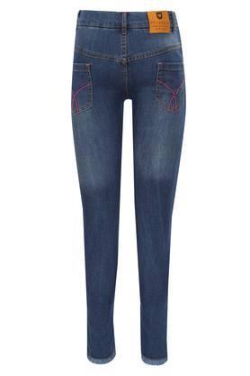 Girls 5 Pocket Mild Wash Frayed Jeans