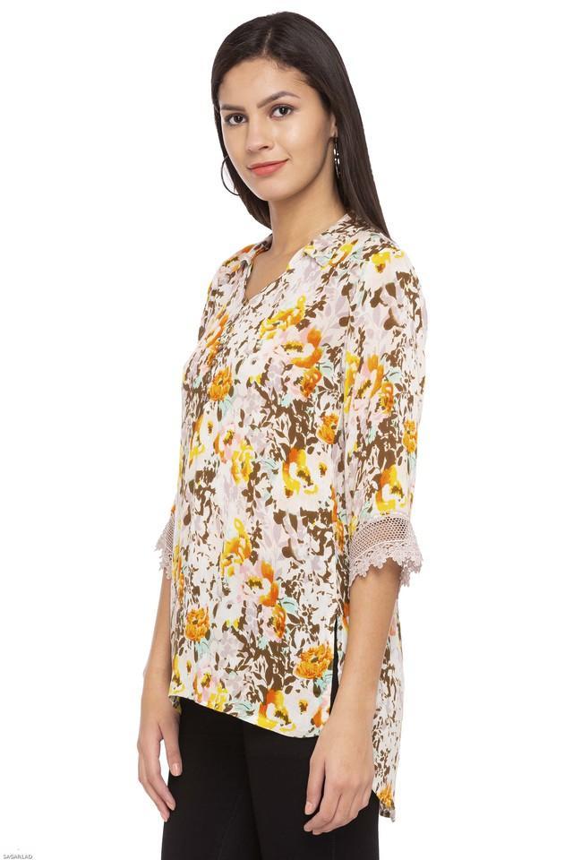 Womens Mandarin Neck Floral Print Top