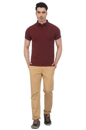 Mens Self Printed Polo T-Shirt