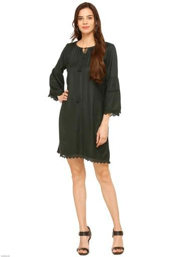 Womens Tie Up Neck Solid Shift Dress