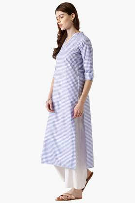 Womens Cotton Checked Straight Kurta