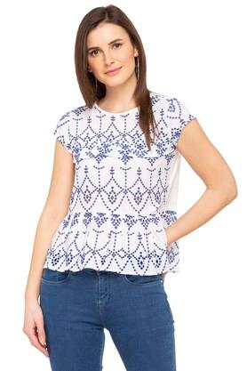 Womens Round Neck Embroidered Eyelet Top