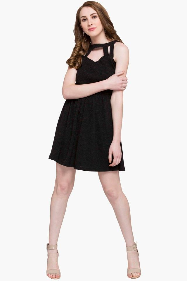 Womens Band Collar Shimmer Skater Dress