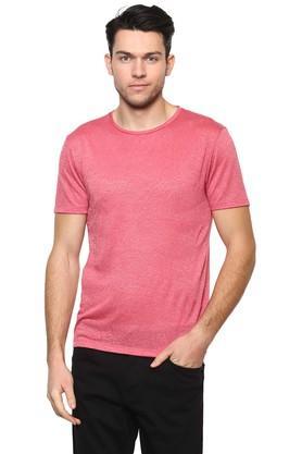 Mens Straight Fit Round Neck Textured T-Shirt