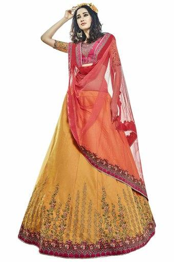 8f4b5f53b2 Buy VRITIKA Mustard Womens Zari Work Lehenga Choli | Shoppers Stop
