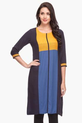 IMARA Womens Round Neck Colour Block Kurta - 203080056_9101