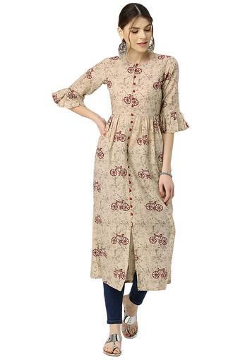 Womens Cotton Printed Anarkali Kurta