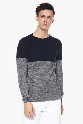 CELIO Mens Round Neck Colour Block Sweater