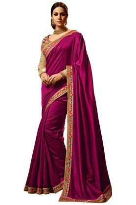 VRITIKA Womens Violet Magic Silk Designer Saree With Blouse