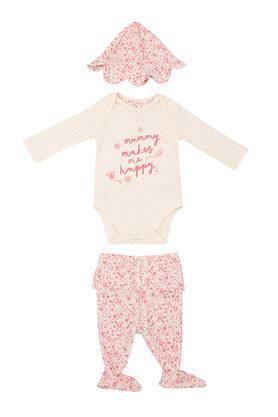 Girls Envelope Neck Graphic Print Babysuit Pants and Cap Set