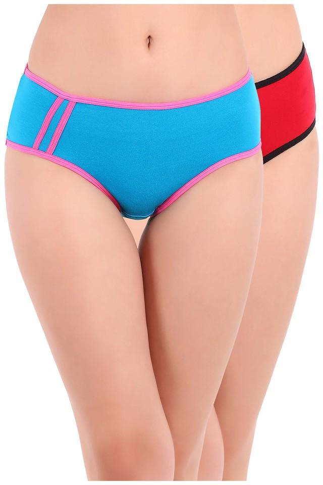 Womens Mid Waist Solid Hipster Briefs - Pack of 2