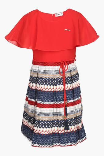 Girls Round Neck Printed Pleated Dress