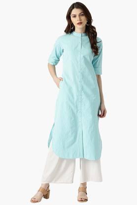 LIBASWomens Stripes Cotton Blend Pathani Kurta With Pockets