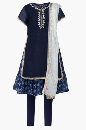 Girls Round Neck Embroidered Layered Churidar Suit