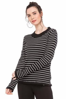 FRATINI WOMAN Womens Round Neck Striped Sweater